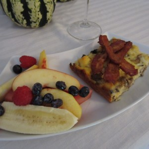 Cheese Egg & Sausage Casserole with Side of Fruit