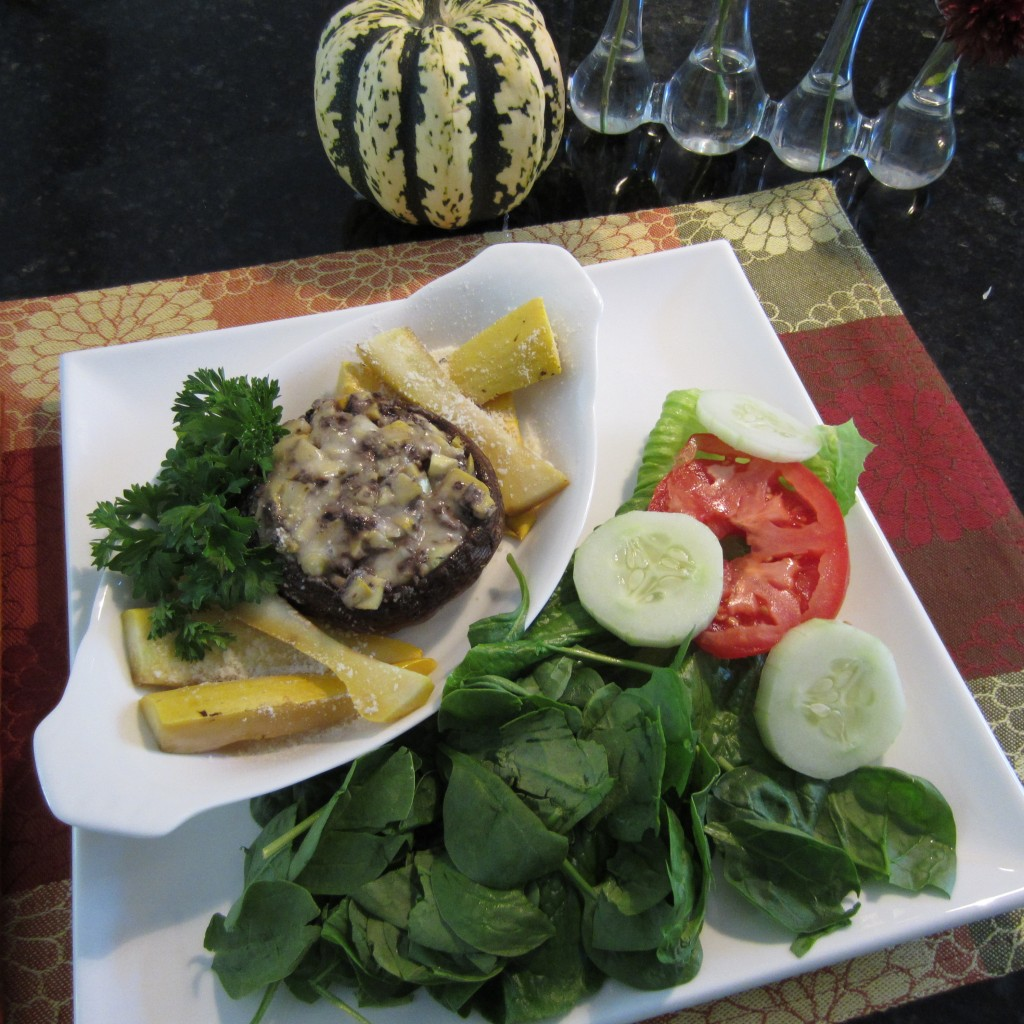 Stuffed Portabella Mushroom with Spinach Salad