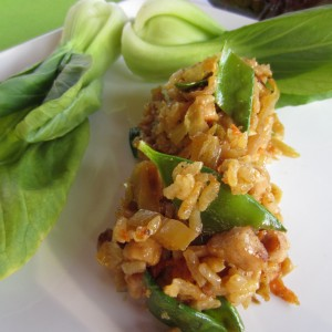 Baby Bok Choy with Spicy Pork Fried Rice