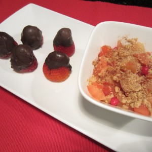 Red Hot Cinnamon Apple Crunch with Chocolate Dipped Strawberries