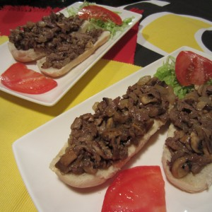 Open Face Philly Cheese Steak Sandwich