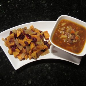 Beef Barley Soup and Apple Sweet Potato Side Dish