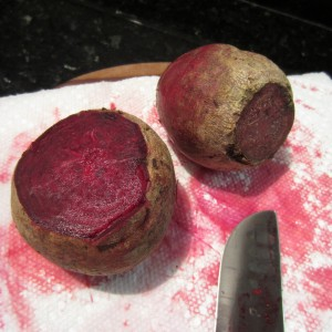 Beet juice can stain. Place paper towels on cutting board.