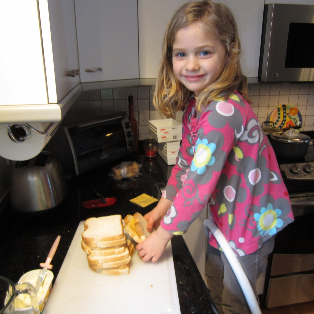 Making Grilled Cheese Sandwiches
