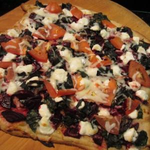 Baked Beet & Goat Cheese Pizza from BlimpyGirl.com