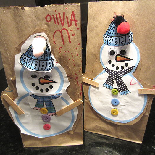 Snowman Brown Bag Lunch Bags