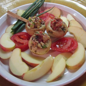 Baked Apples with Stuffed Mushrooms