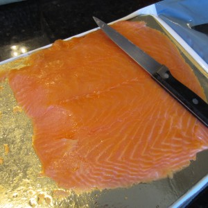 Thinly sliced smoked salmon.