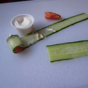 Cucumber Roll-Up with Salmon & Cream Cheese
