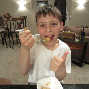 The apple crisp receives a thumbs-up.
