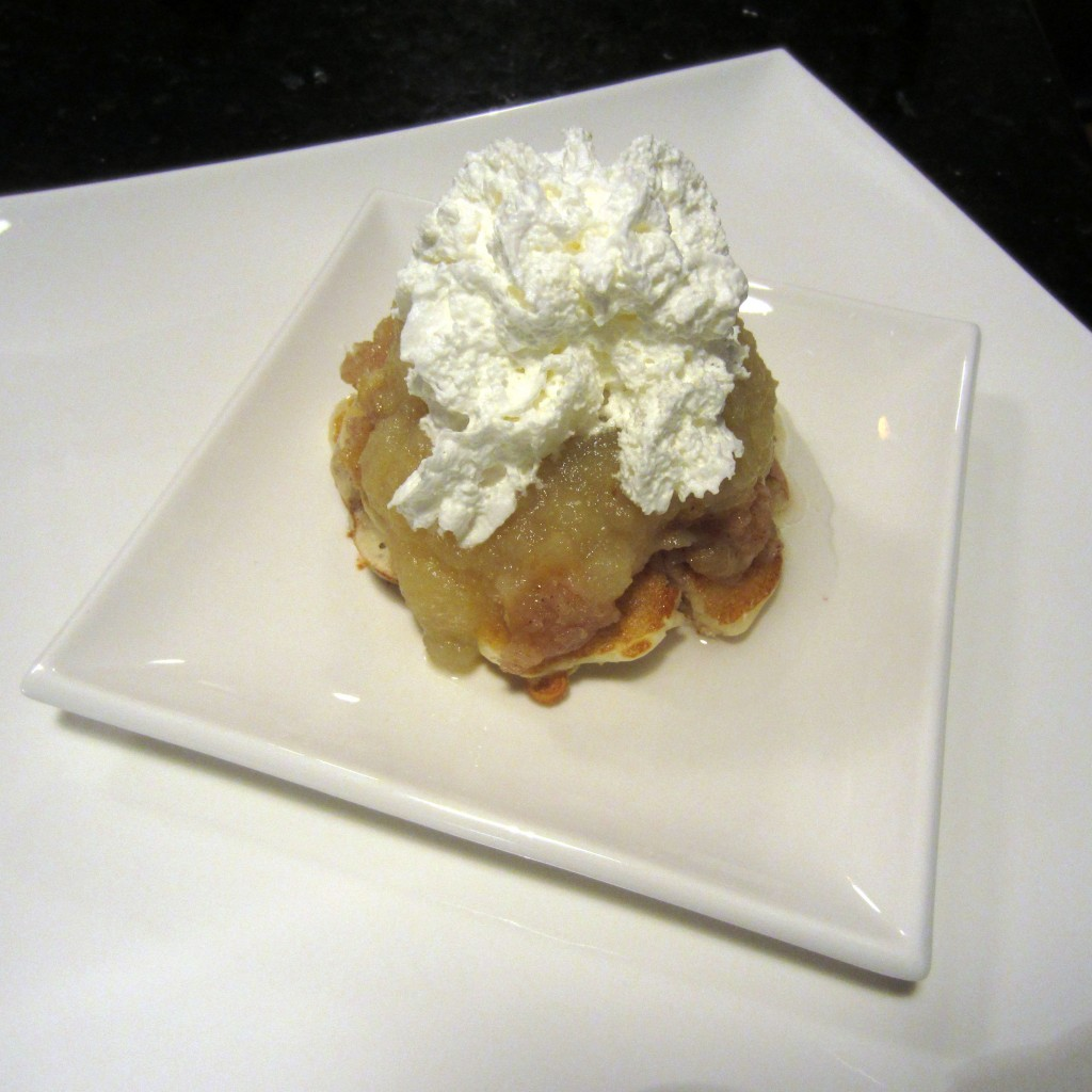 Apple Crisp Pancakes with Whipped Cream