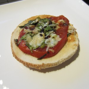Open Face Tomato-Spinach Cheese Sandwich