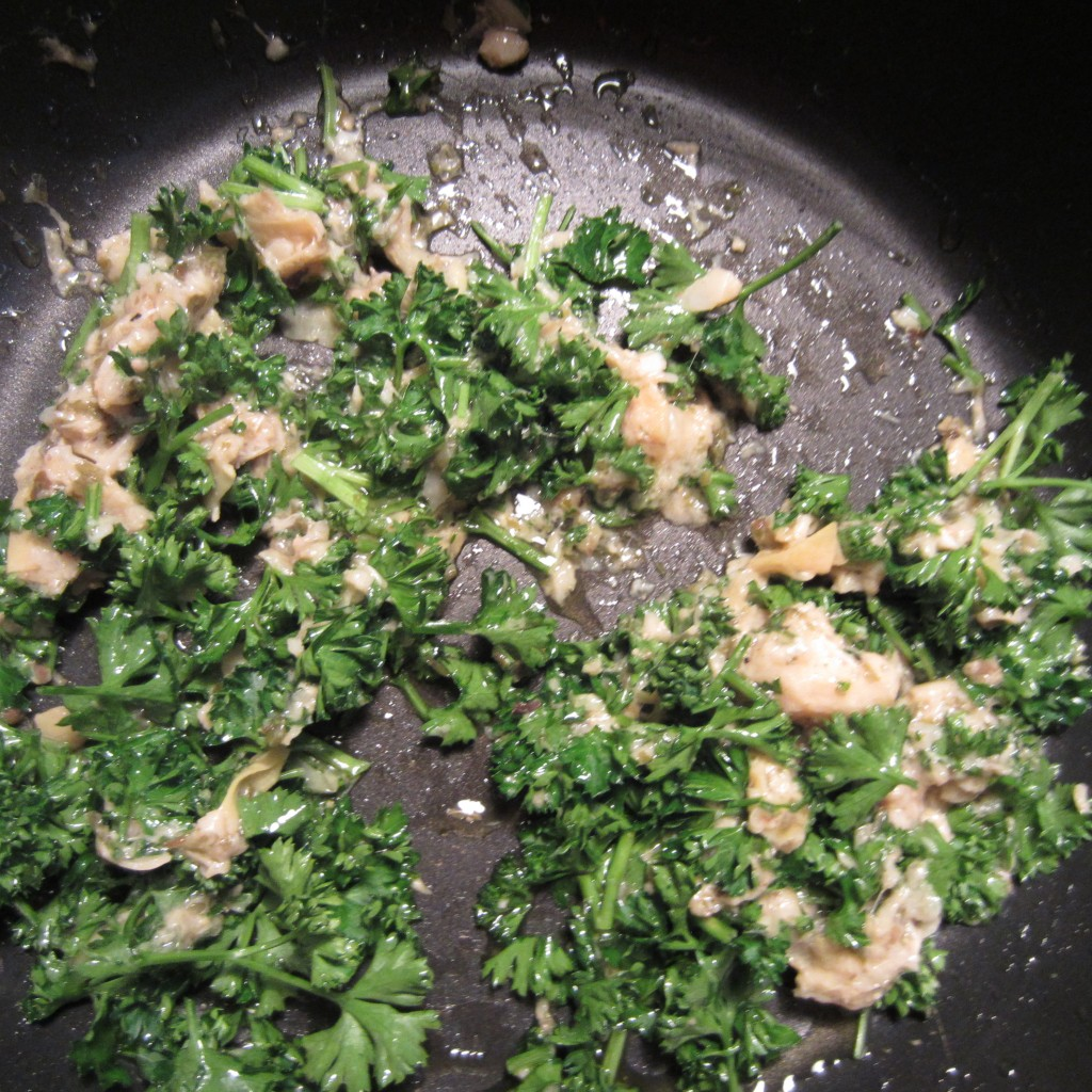 Mix Artichoke Tapenade with Parsley and Olive Oil