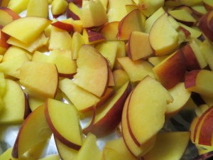 Slice fresh peaches and roast in oven or grill.
