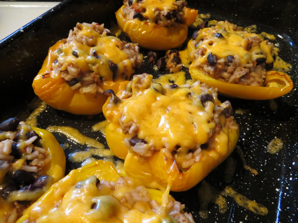 Turkey Stuffed Roasted Yellow Bell Peppers