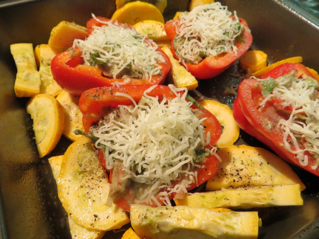 Top stuffed red peppers with cheese