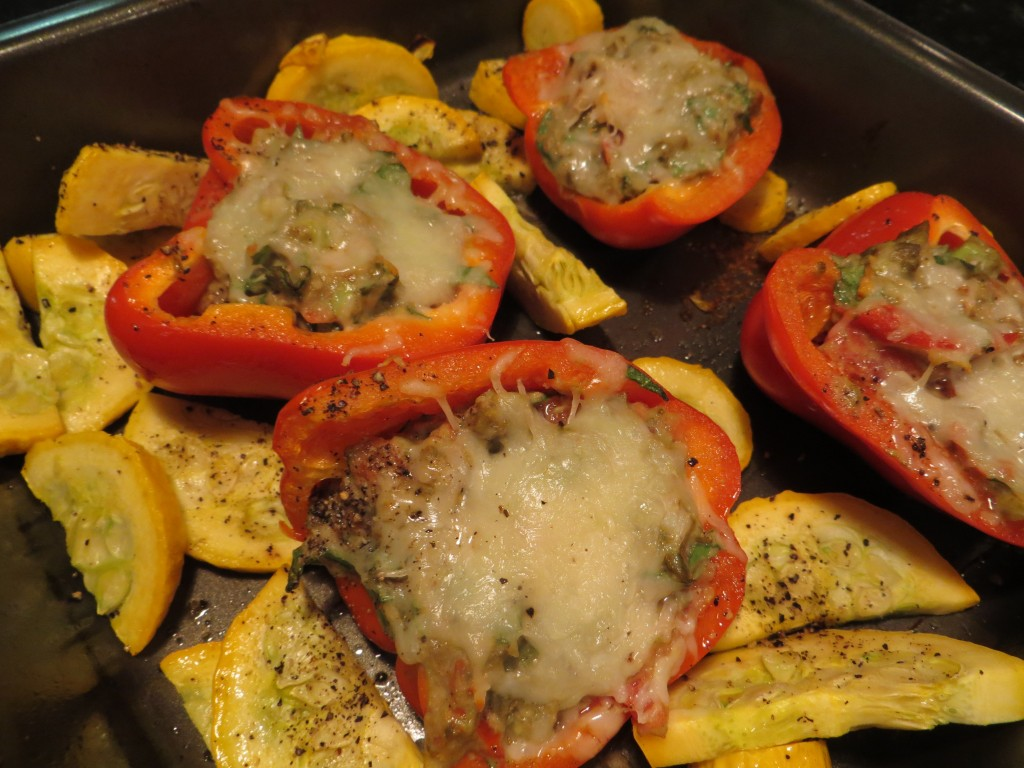 Roasted red peppers stuffed with avocado, spinach, tomato