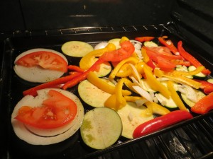 Arrange veggies in a single layer on baking sheet.